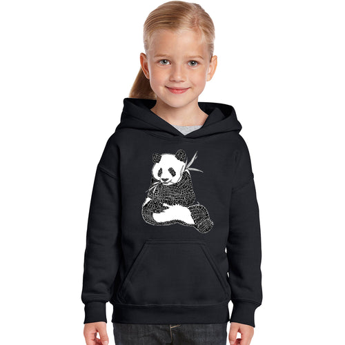 LA Pop Art Girl's Word Art Hooded Sweatshirt - ENDANGERED SPECIES