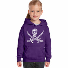 Load image into Gallery viewer, LA Pop Art Girl's Word Art Hooded Sweatshirt - PIRATE CAPTAINS, SHIPS AND IMAGERY