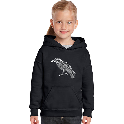 LA Pop Art Girl's Word Art Hooded Sweatshirt - Edgar Allan Poe's The Raven