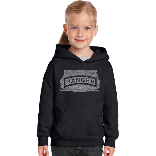 LA Pop Art Girl's Word Art Hooded Sweatshirt - The US Ranger Creed
