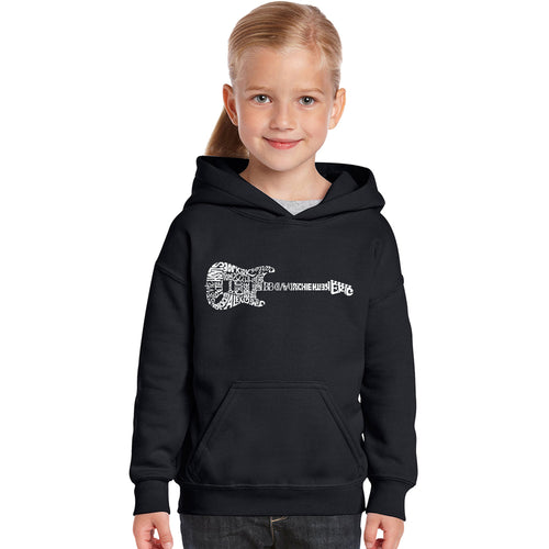 LA Pop Art Girl's Word Art Hooded Sweatshirt - Rock Guitar