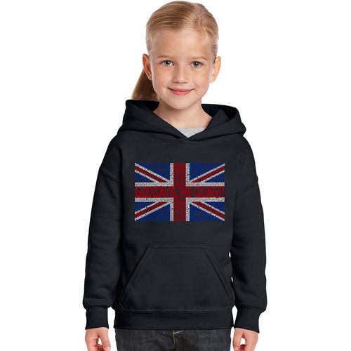 LA Pop Art Girl's Word Art Hooded Sweatshirt - God Save The Queen