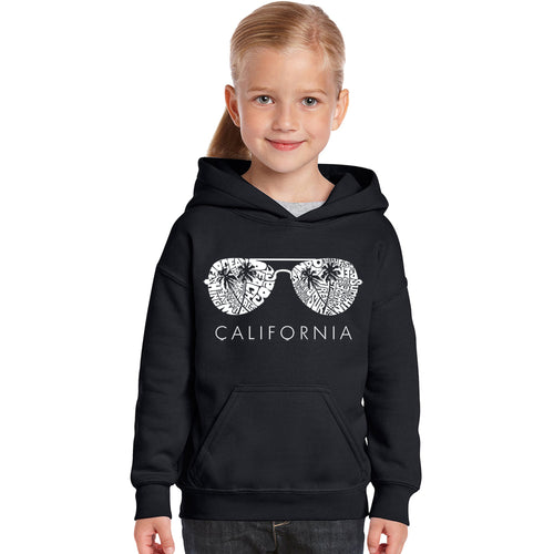 LA Pop Art Girl's Word Art Hooded Sweatshirt - California Shades