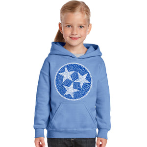 LA Pop Art Girl's Word Art Hooded Sweatshirt - Tennessee Tristar