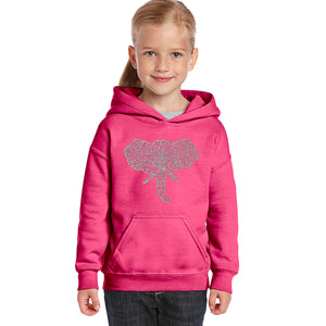 LA Pop Art Girl's Word Art Hooded Sweatshirt - Tusks