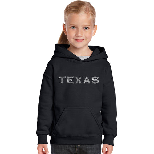 LA Pop Art Girl's Word Art Hooded Sweatshirt - THE GREAT CITIES OF TEXAS