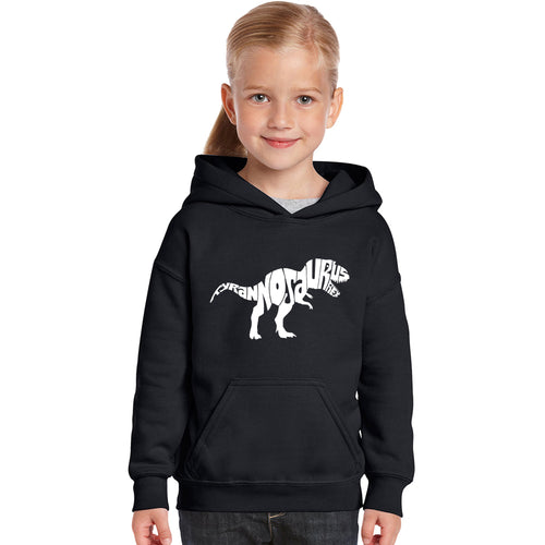 LA Pop Art Girl's Word Art Hooded Sweatshirt - TYRANNOSAURUS REX