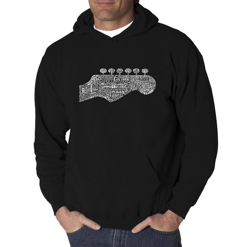 LA Pop Art Men's Word Art Hooded Sweatshirt - Guitar Head