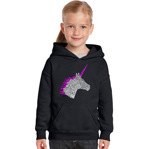 LA Pop Art Girl's Word Art Hooded Sweatshirt - Unicorn