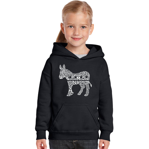LA Pop Art Girl's Word Art Hooded Sweatshirt - I Vote Democrat