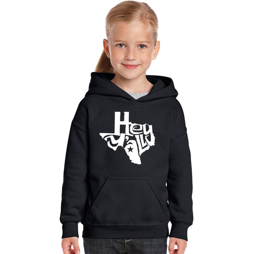 LA Pop Art Girl's Word Art Hooded Sweatshirt - Hey Yall