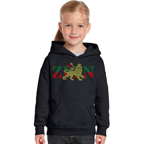 LA Pop Art Girl's Word Art Hooded Sweatshirt - Zion - One Love
