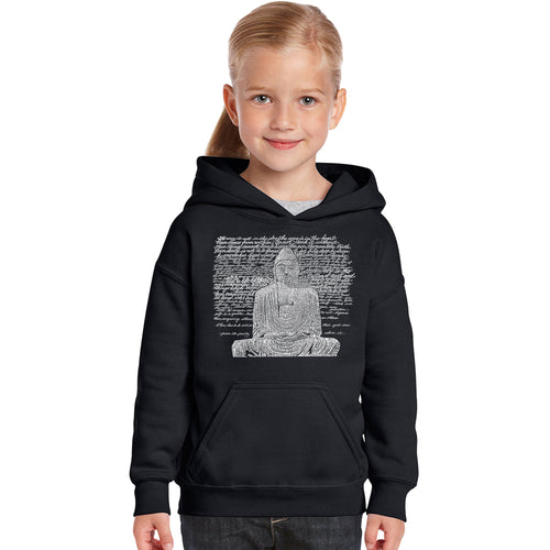 LA Pop Art Girl's Word Art Hooded Sweatshirt - Zen Buddha