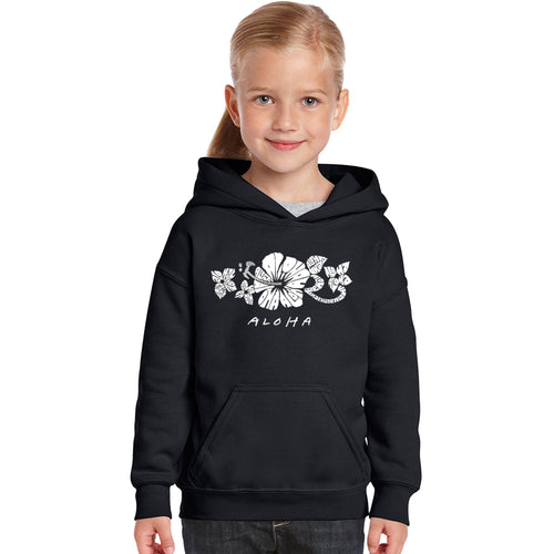 LA Pop Art Girl's Word Art Hooded Sweatshirt - ALOHA