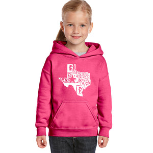LA Pop Art Girl's Word Art Hooded Sweatshirt - Everything is Bigger in Texas