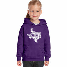 Load image into Gallery viewer, LA Pop Art Girl's Word Art Hooded Sweatshirt - Everything is Bigger in Texas