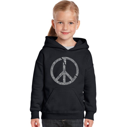 LA Pop Art Girl's Word Art Hooded Sweatshirt - EVERY MAJOR WORLD CONFLICT SINCE 1770