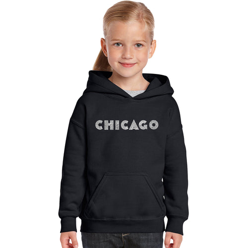 LA Pop Art Girl's Word Art Hooded Sweatshirt - CHICAGO NEIGHBORHOODS