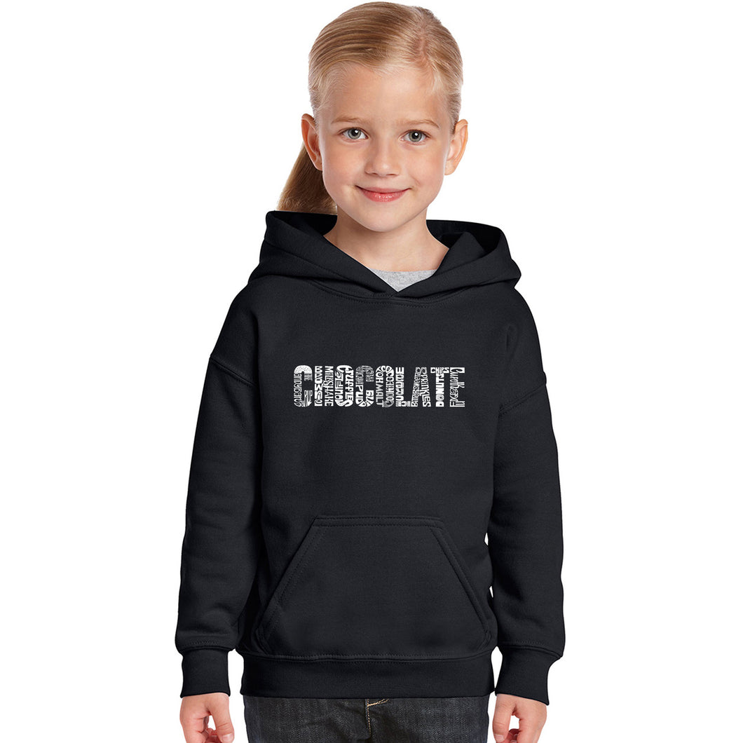 LA Pop Art Girl's Word Art Hooded Sweatshirt - Different foods made with chocolate