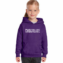 Load image into Gallery viewer, LA Pop Art Girl's Word Art Hooded Sweatshirt - Different foods made with chocolate