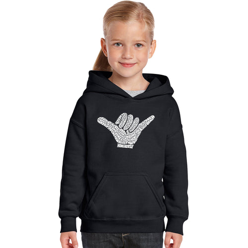 LA Pop Art Girl's Word Art Hooded Sweatshirt - TOP WORLDWIDE SURFING SPOTS