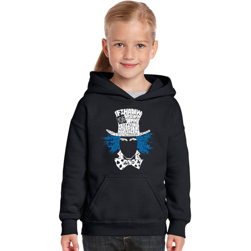 LA Pop Art Girl's Word Art Hooded Sweatshirt - The Mad Hatter
