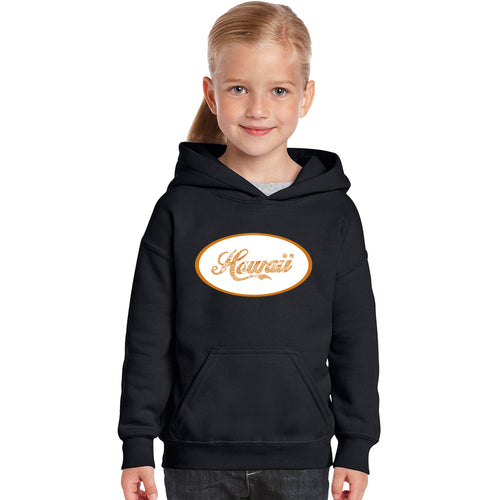 LA Pop Art Girl's Word Art Hooded Sweatshirt - HAWAIIAN ISLAND NAMES & IMAGERY