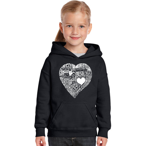 LA Pop Art Girl's Word Art Hooded Sweatshirt - LOVE IN 44 DIFFERENT LANGUAGES