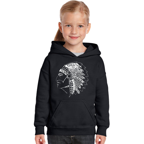 LA Pop Art Girl's Word Art Hooded Sweatshirt - POPULAR NATIVE AMERICAN INDIAN TRIBES