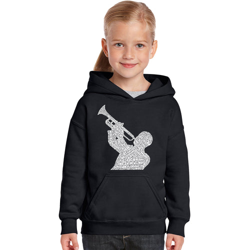 LA Pop Art Girl's Word Art Hooded Sweatshirt - ALL TIME JAZZ SONGS
