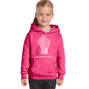 LA Pop Art Girl's Word Art Hooded Sweatshirt - No Justice, No Peace