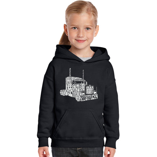 LA Pop Art Girl's Word Art Hooded Sweatshirt - KEEP ON TRUCKIN'
