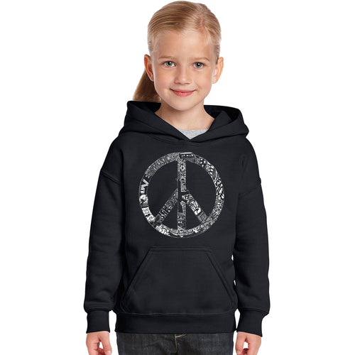 LA Pop Art Girl's Word Art Hooded Sweatshirt - PEACE, LOVE, & MUSIC