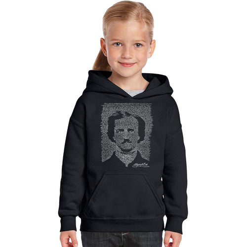 LA Pop Art Girl's Word Art Hooded Sweatshirt - EDGAR ALLEN POE - THE RAVEN