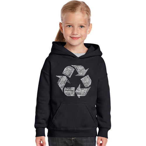 LA Pop Art Girl's Word Art Hooded Sweatshirt - 86 RECYCLABLE PRODUCTS
