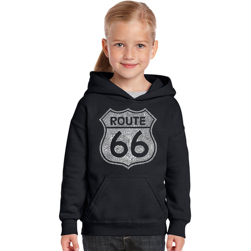 LA Pop Art Girl's Word Art Hooded Sweatshirt - CITIES ALONG THE LEGENDARY ROUTE 66