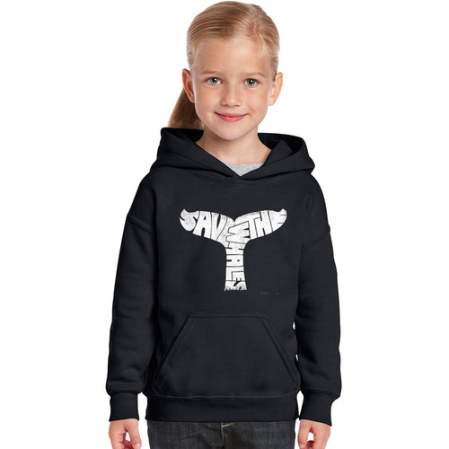LA Pop Art Girl's Word Art Hooded Sweatshirt - SAVE THE WHALES