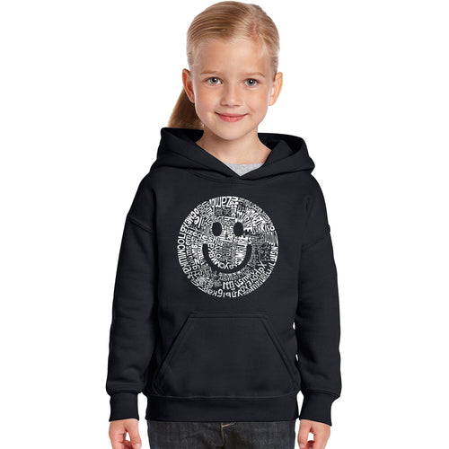 LA Pop Art Girl's Word Art Hooded Sweatshirt - SMILE IN DIFFERENT LANGUAGES