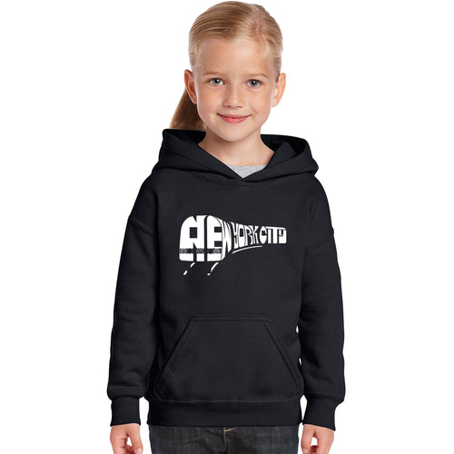 LA Pop Art Girl's Word Art Hooded Sweatshirt - NY SUBWAY