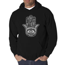 Load image into Gallery viewer, LA Pop Art Men's Word Art Hooded Sweatshirt - Hamsa