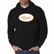 Load image into Gallery viewer, LA Pop Art Men's Word Art Hooded Sweatshirt - HAWAIIAN ISLAND NAMES & IMAGERY