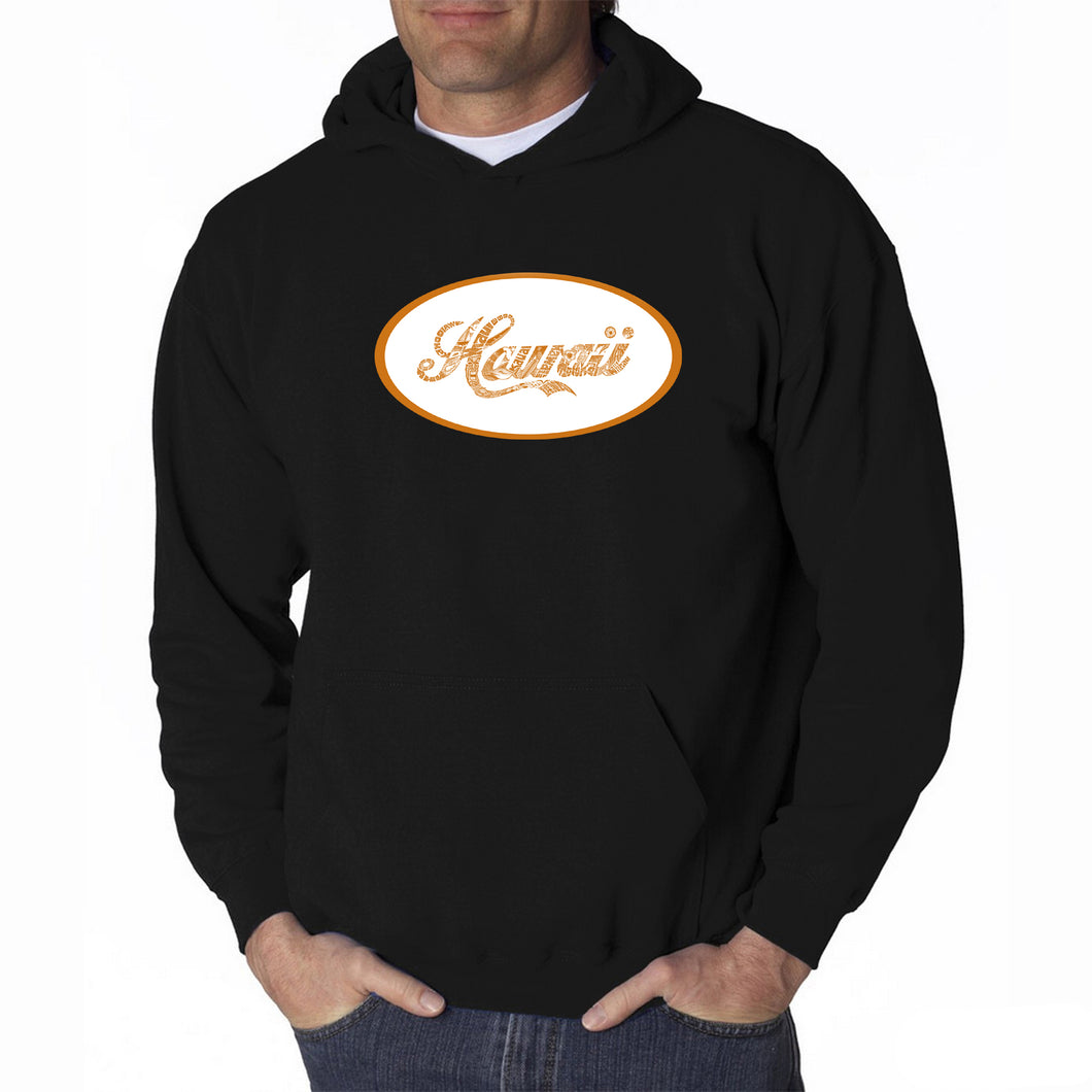 LA Pop Art Men's Word Art Hooded Sweatshirt - HAWAIIAN ISLAND NAMES & IMAGERY