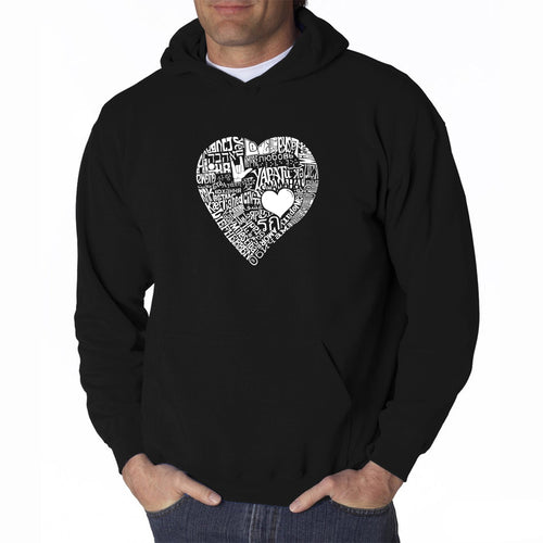 LA Pop Art Men's Word Art Hooded Sweatshirt - LOVE IN 44 DIFFERENT LANGUAGES
