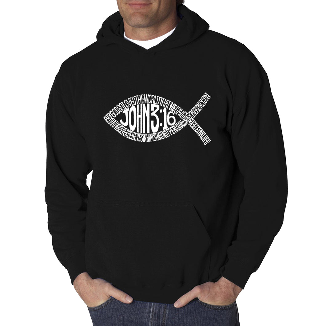 LA Pop Art  Men's Word Art Hooded Sweatshirt - John 3:16 Fish Symbol