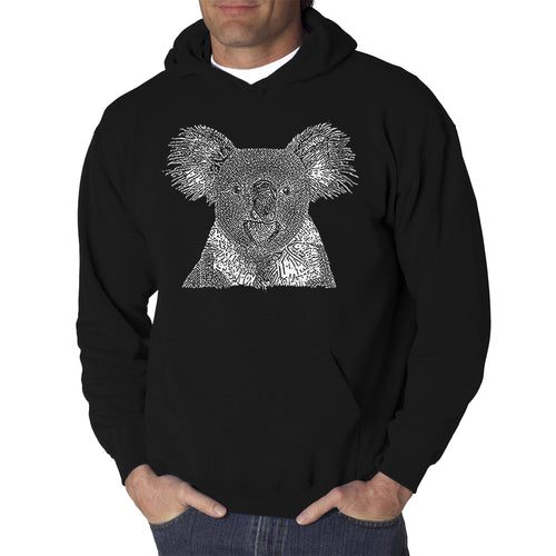 LA Pop Art Men's Word Art Hooded Sweatshirt - Koala