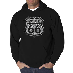 LA Pop Art Men's Word Art Hooded Sweatshirt - Get Your Kicks on Route 66
