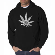 Load image into Gallery viewer, LA Pop Art Men's Word Art Hooded Sweatshirt - 50 DIFFERENT STREET TERMS FOR MARIJUANA