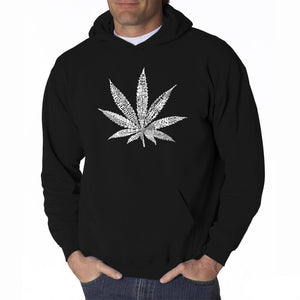 LA Pop Art Men's Word Art Hooded Sweatshirt - 50 DIFFERENT STREET TERMS FOR MARIJUANA