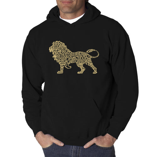 LA Pop Art Men's Word Art Hooded Sweatshirt - Lion