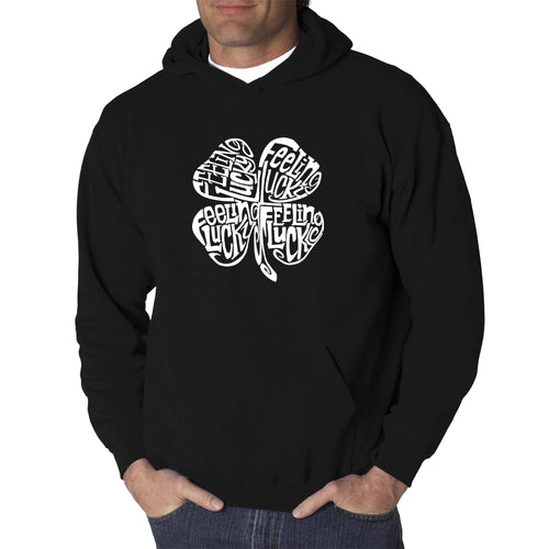 LA Pop Art Men's Word Art Hooded Sweatshirt - Feeling Lucky